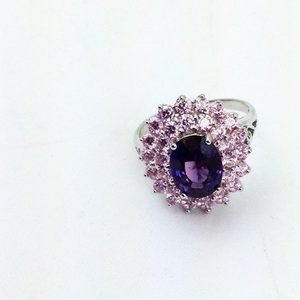 Oval Faceted Amethyst  Sterling -6.5